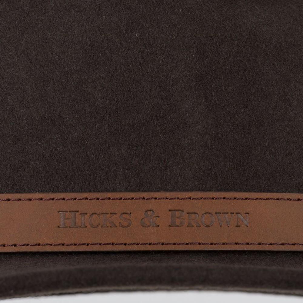 Hicks & Brown Hicks &  Suffolk Fedora Hat - Guinea and Pheasant Feather - Dark Brown Dark Brown