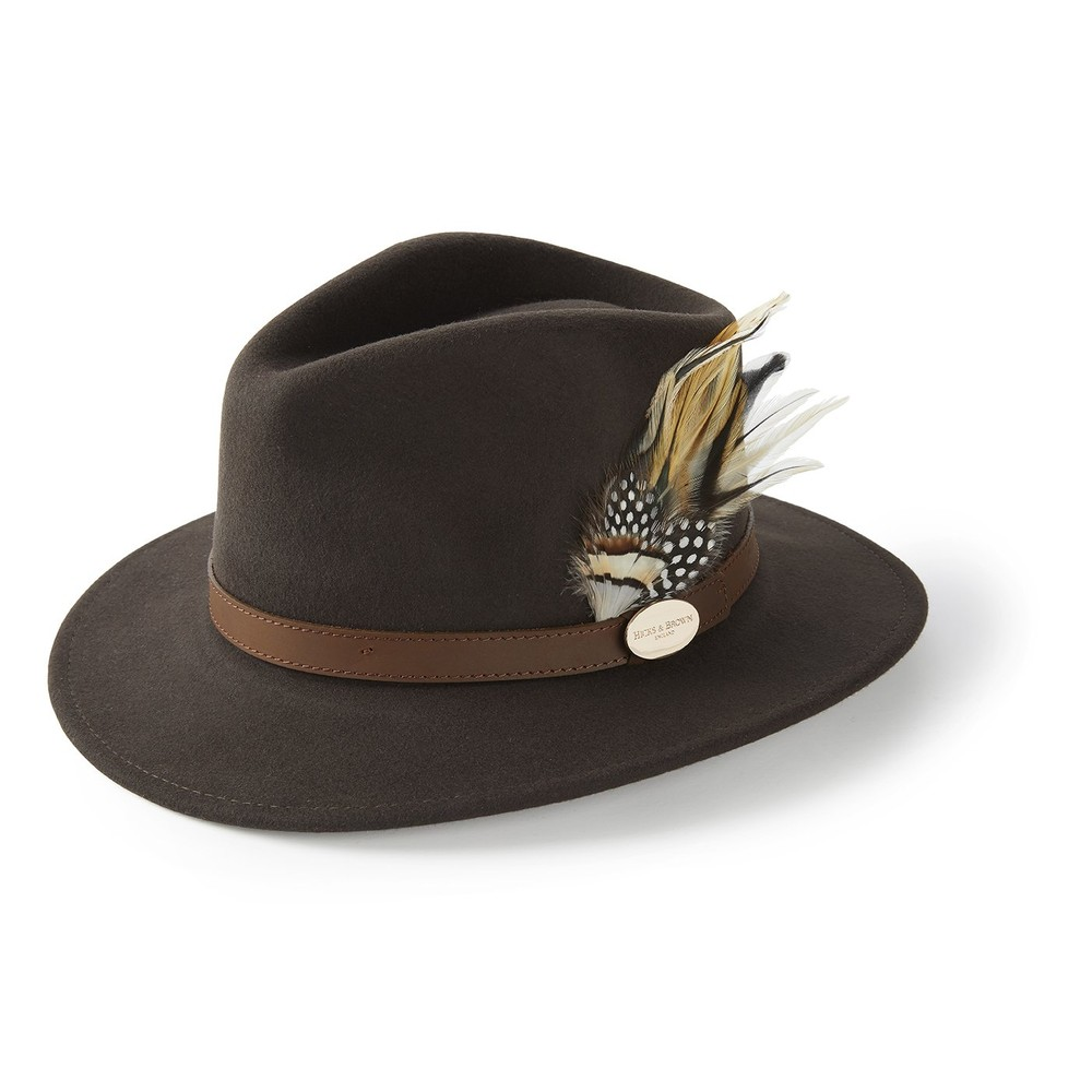 Hicks & Brown Hicks &  Suffolk Fedora Hat - Guinea and Pheasant Feather - Dark Brown