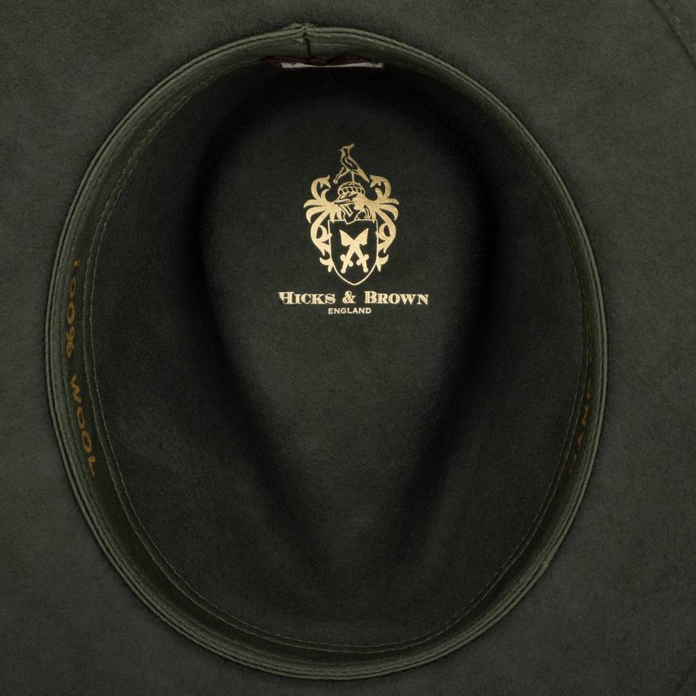 Hicks & Brown Suffolk Fedora Hat - Guinea and Pheasant Feather - Olive Olive