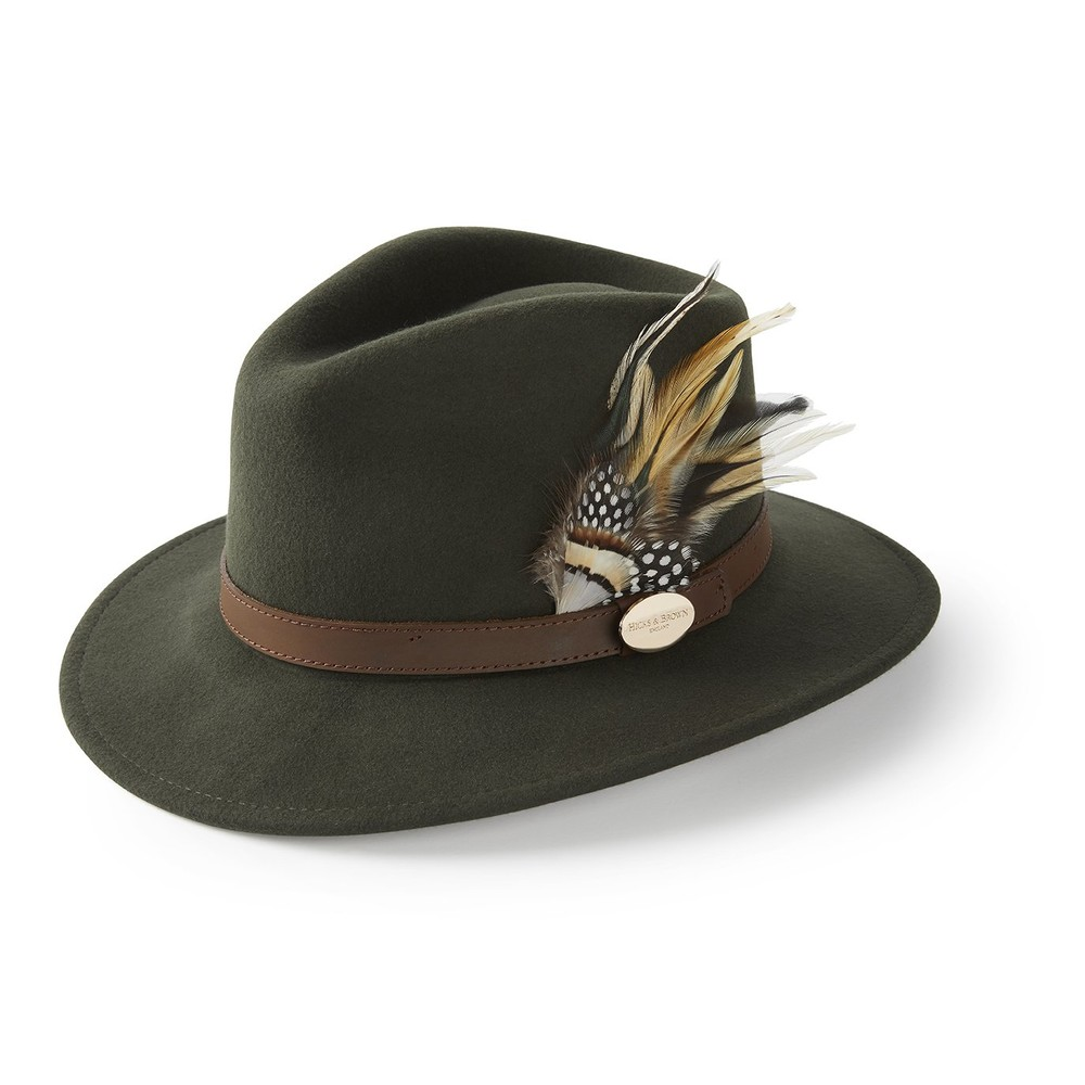 Hicks & Brown Hicks & Brown Suffolk Fedora Hat - Guinea and Pheasant Feather - Olive