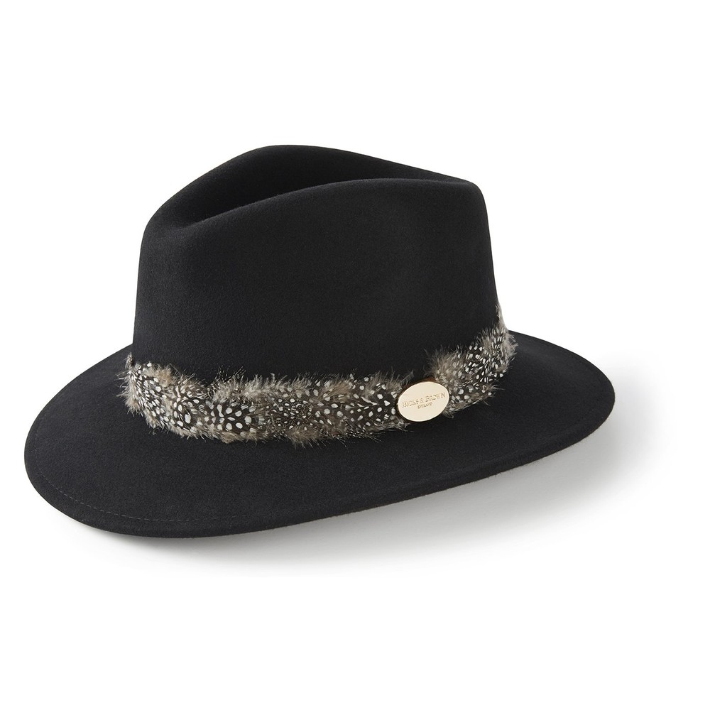 Hicks & Brown Suffolk Fedora Hat - Guinea Feather Wrap Black