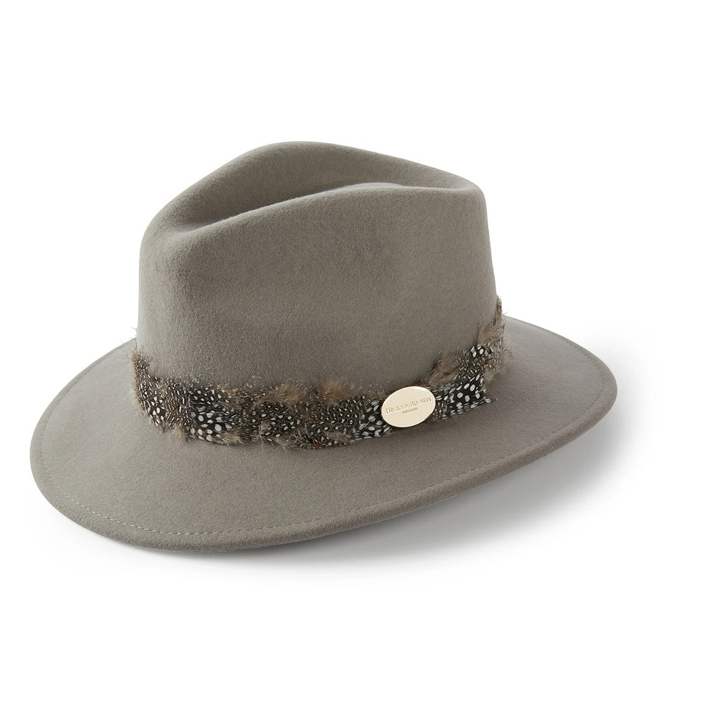 Hicks & Brown Hicks & Brown Suffolk Fedora Hat - Guinea Feather Wrap - Grey