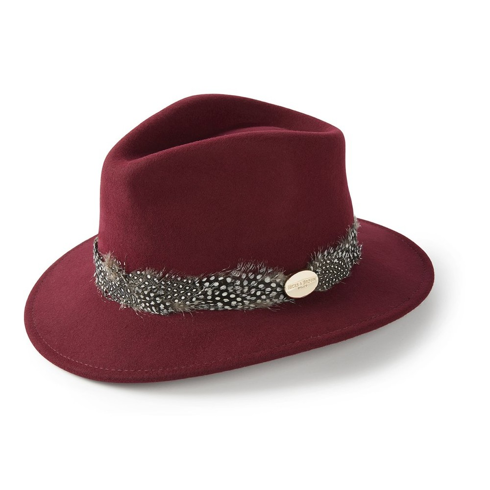 Hicks & Brown Hicks & Brown Suffolk Fedora Hat - Guinea Feather Wrap - Maroon