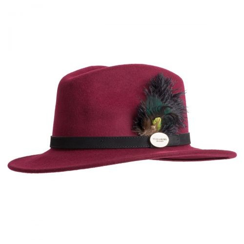 Hicks & Brown Hicks & Brown Suffolk Fedora Hat - Ostrich and Peacock Feather - Maroon
