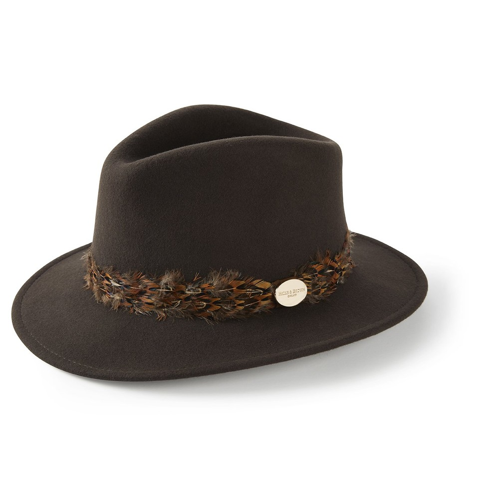 Hicks & Brown Hicks &  Suffolk Fedora Hat - Pheasant Feather Wrap - Brown
