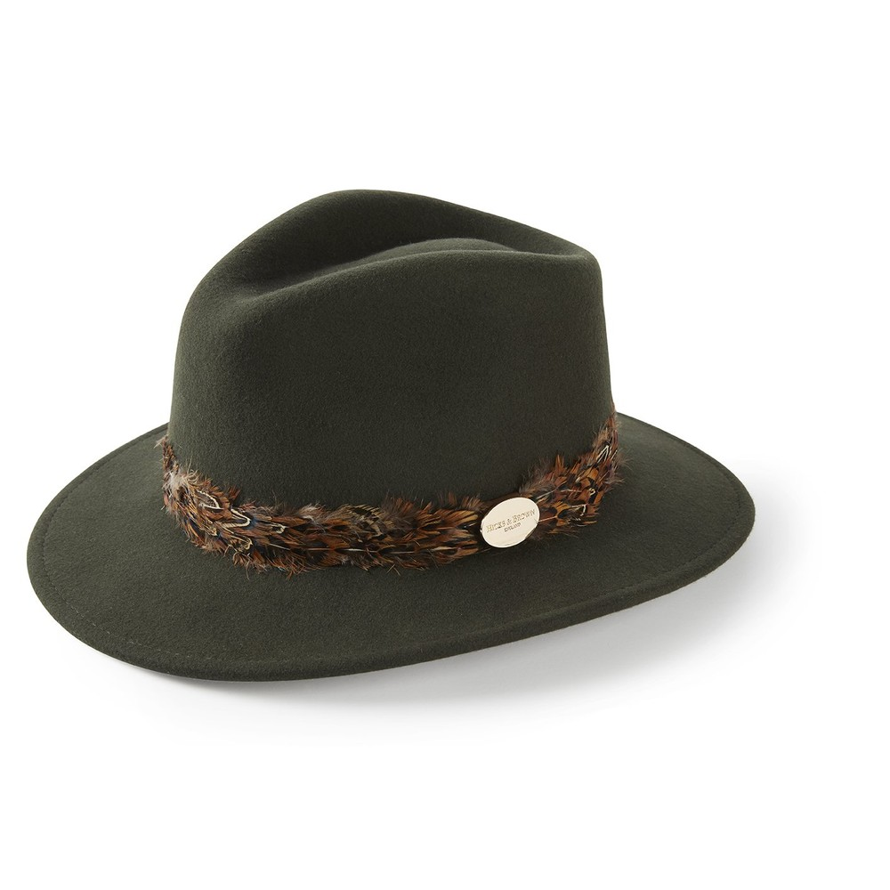 Hicks & Brown Hicks & Brown Suffolk Fedora Hat - Pheasant Feather Wrap - Olive
