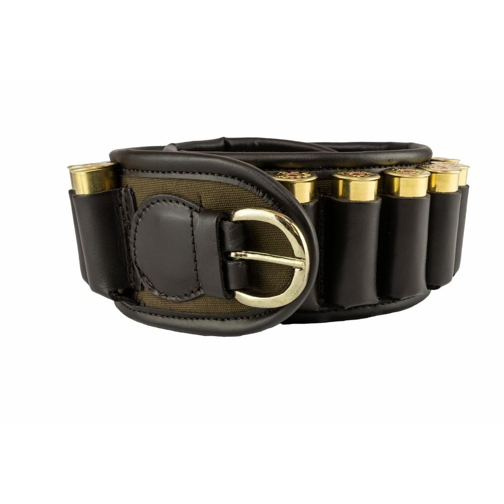 Jack Pyke Canvas/Leather Cartridge Belt - Green - 12 Gauge Green