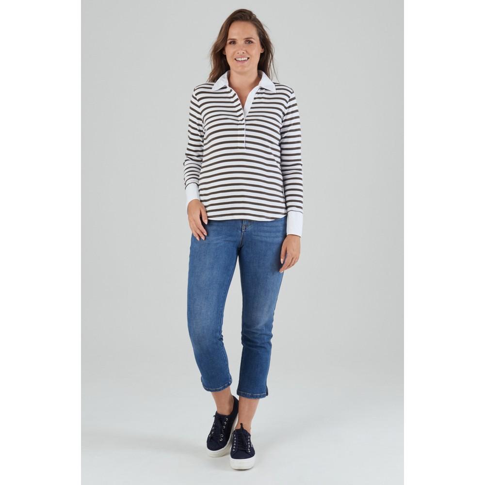 Schoffel Salcombe Shirt - Harbour Stripe Dark Olive Harbour Stripe Dark Olive