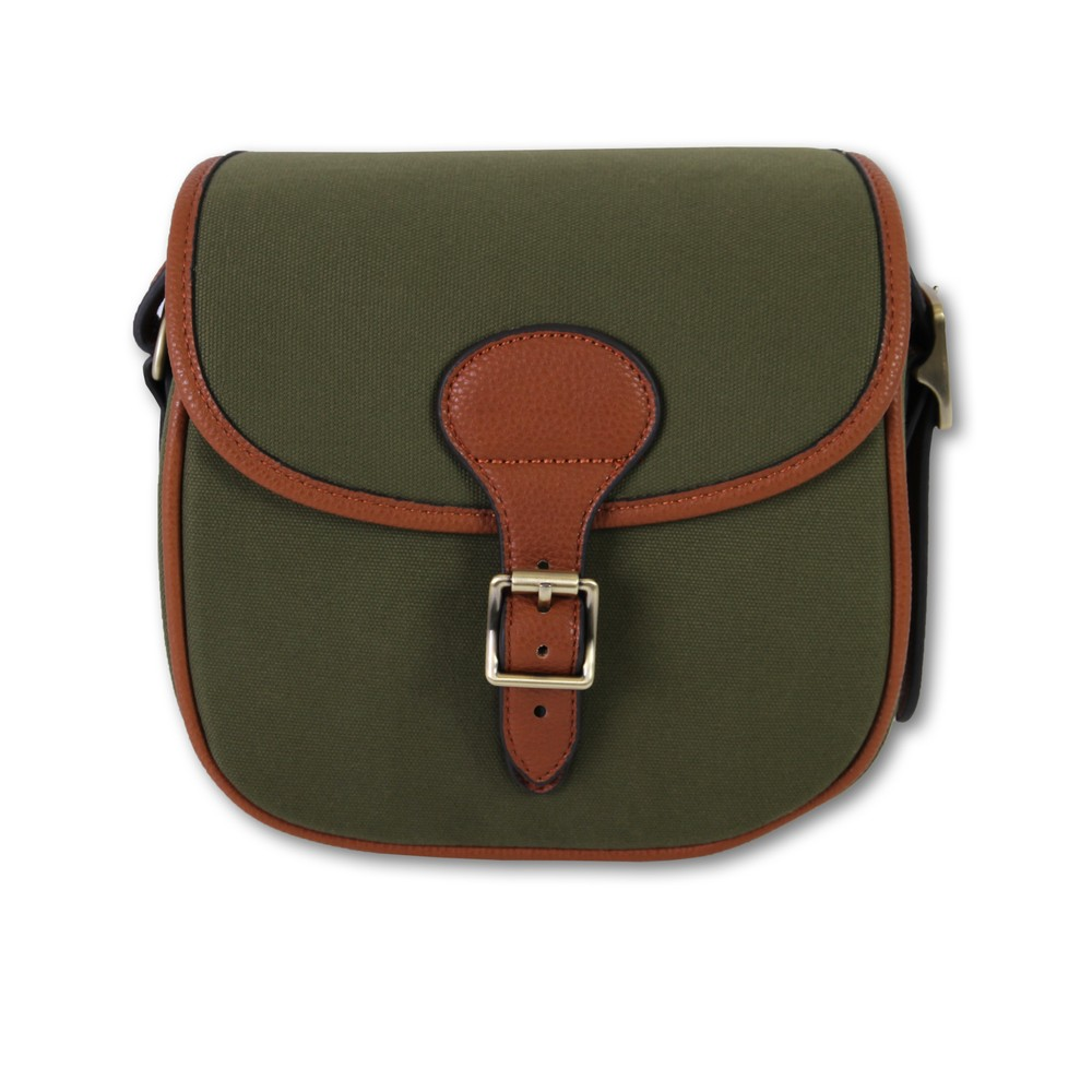 Maremmano Canvas & Faux Leather Cartridge Bag Green/Brown