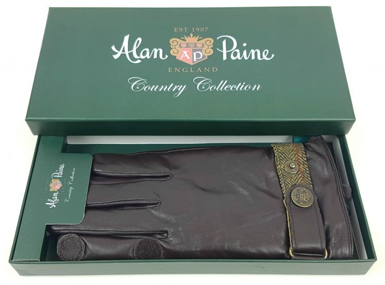 Alan Paine Mens Water Resistant Leather Gloves Brown/Sage