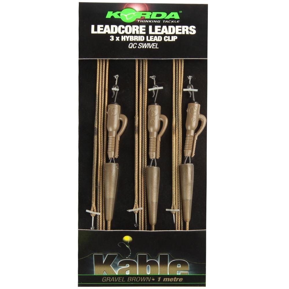 Korda Leadcore Leader - Hybrid Lead Clip - Gravel 1m Gravel