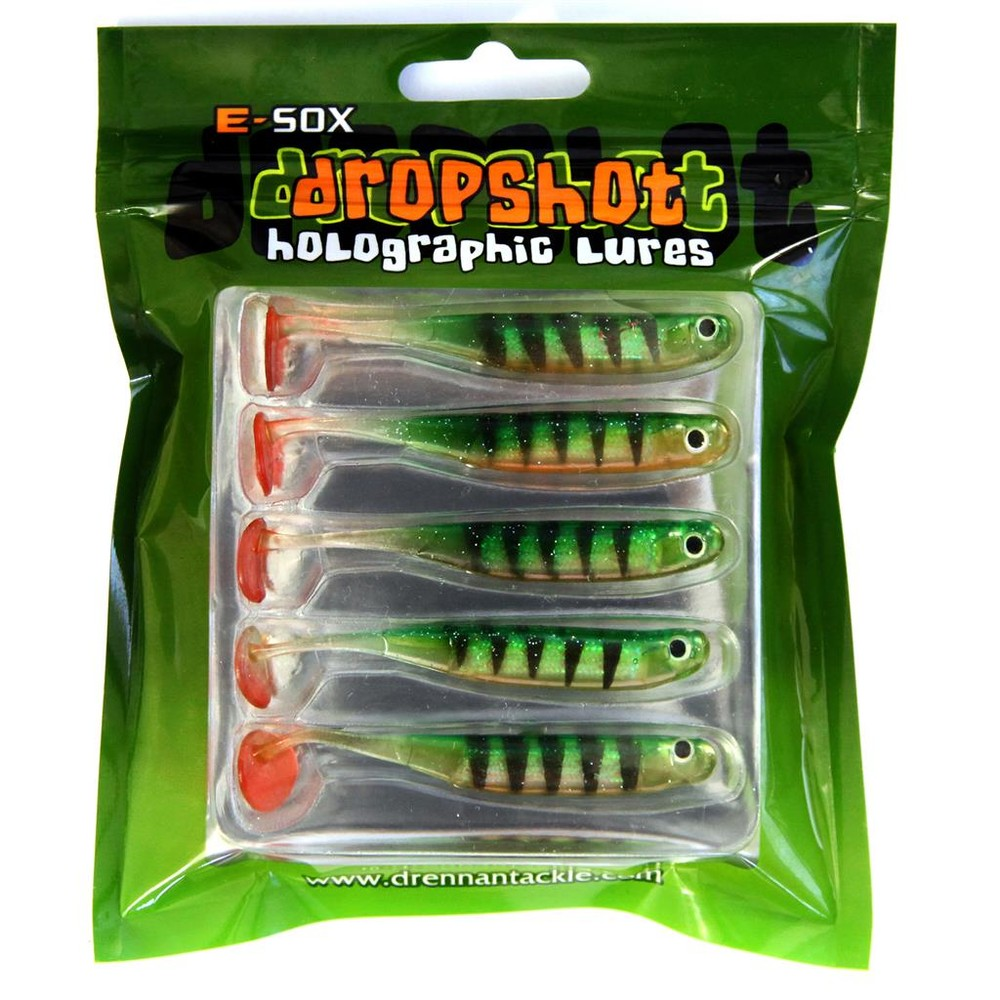 Drennan E-Sox Dropshot Lures BIG EYE Fry Paddle Tail Green Green