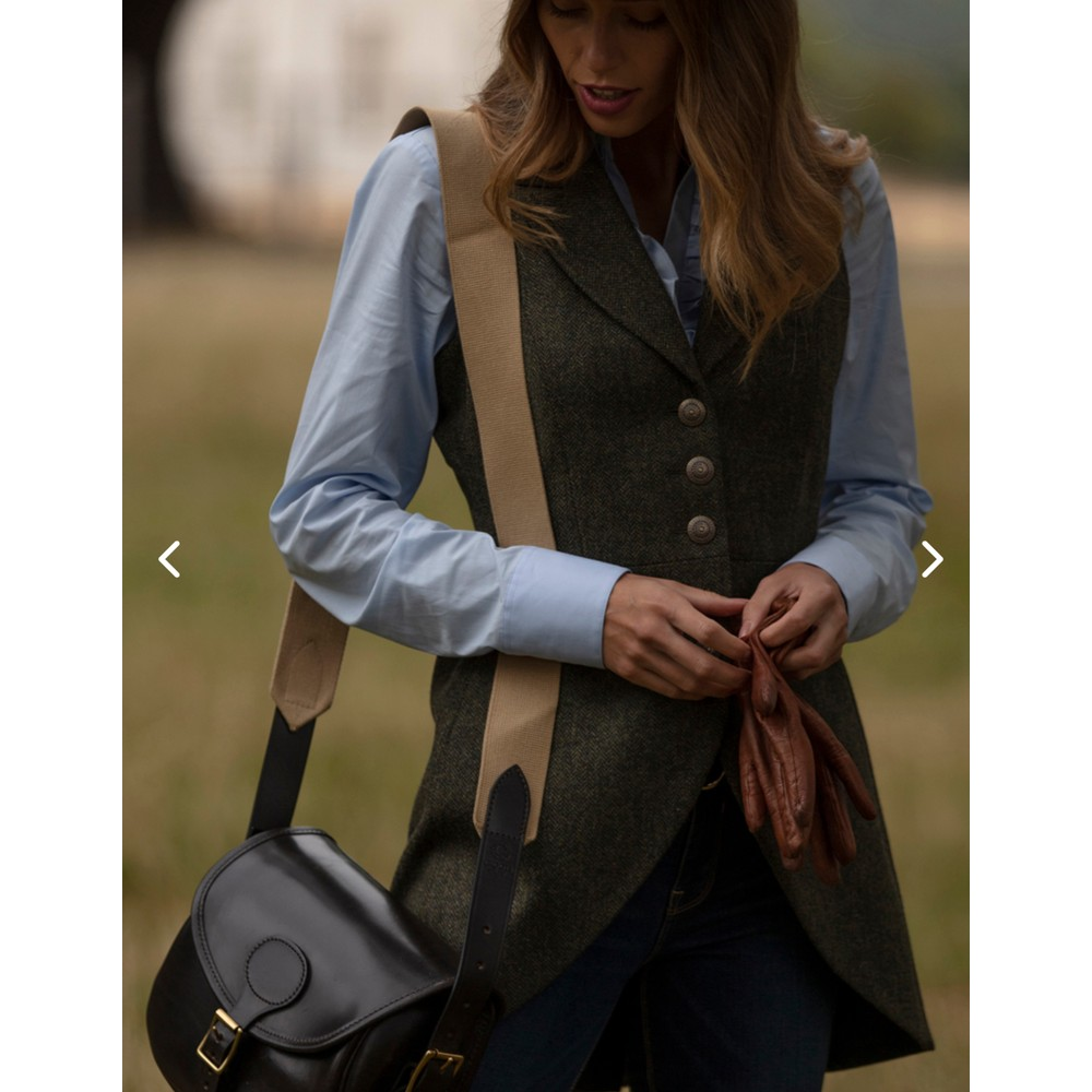 Anna Lascata Anna Tweed Waistcoat Olive Navy Herringbone