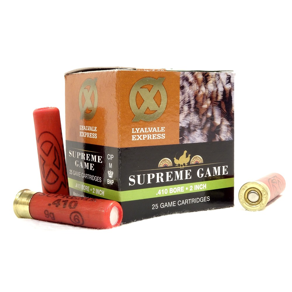 "Lyalvale Express Express 410 Gauge - 2"" - Supreme Game Shotgun Cartridges - 9gr - 6 Shot - Fibre x25"