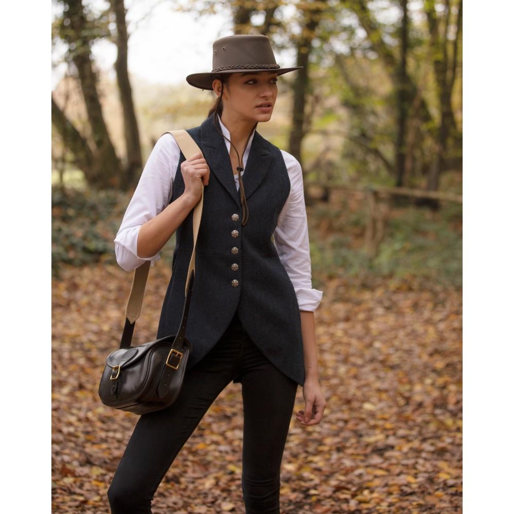 Anna Lascata Anna Tweed Waistcoat Navy Herringbone