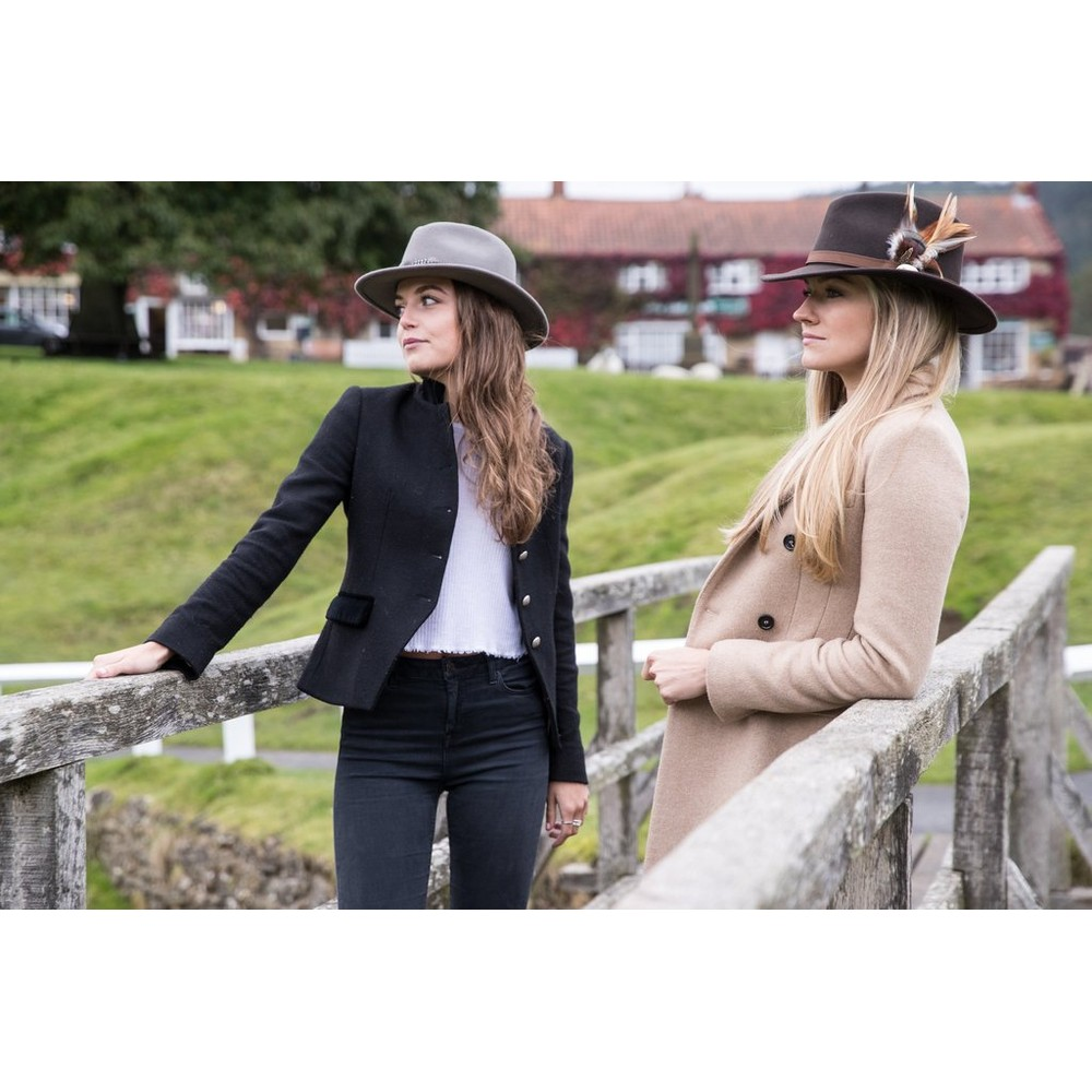 Hicks & Brown Suffolk Fedora Hat - Guinea Feather Wrap Grey
