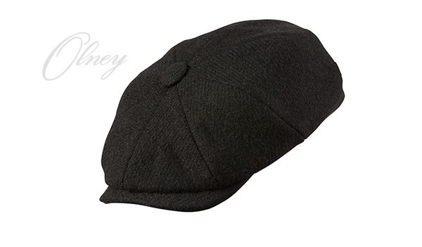 Olney Urban 4 Harris Tweed 8pc Cap - Black Black