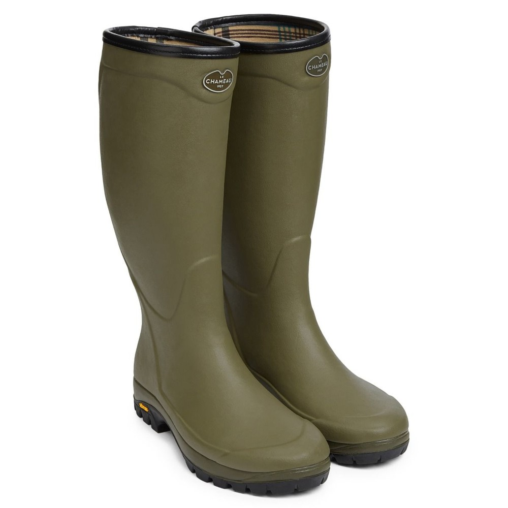 Le Chameau Le Chameau Country Vibram Cotton Lined Wellington - Green