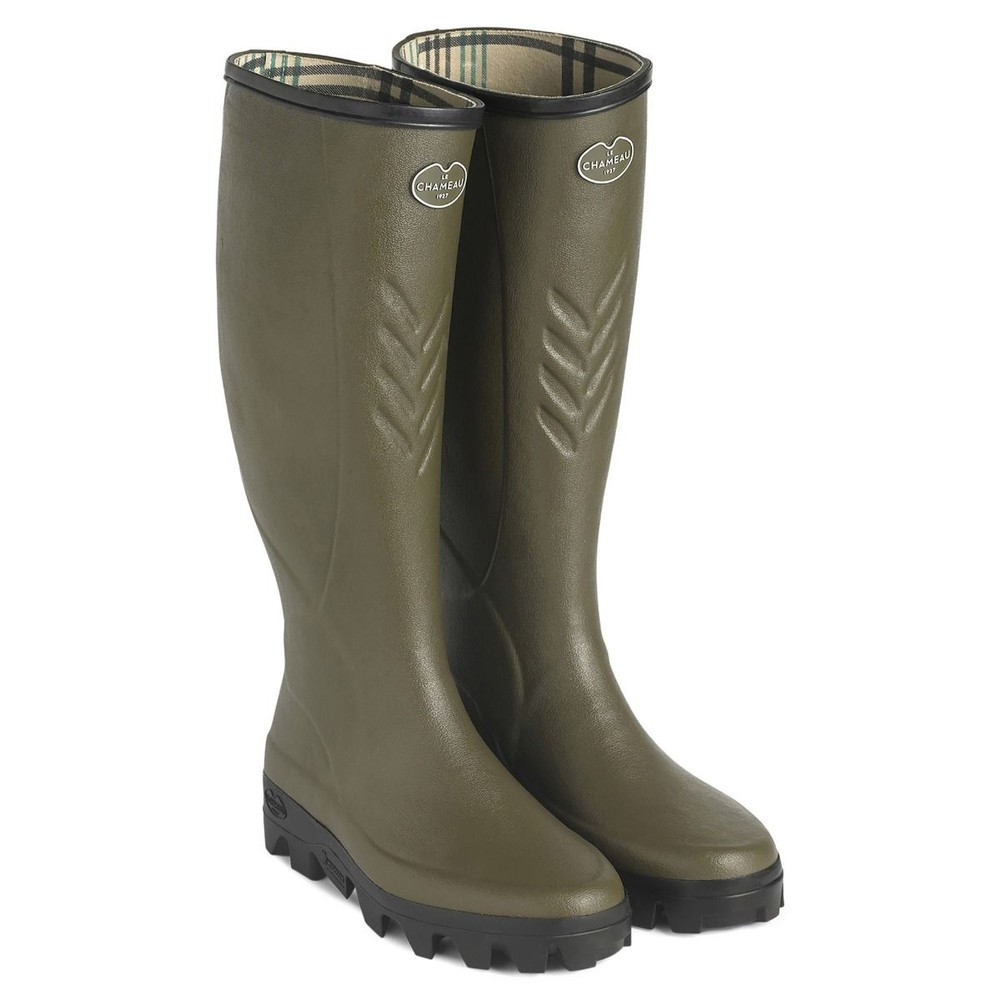 Le Chameau Ceres Cotton Lined Wellington - Dark Green Dark Green