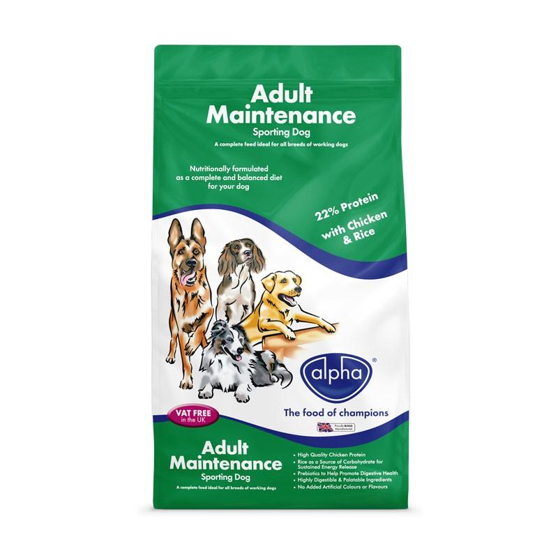 Alpha Adult Maintenance Sporting Dog 15kg – 22% Protein Dog Food