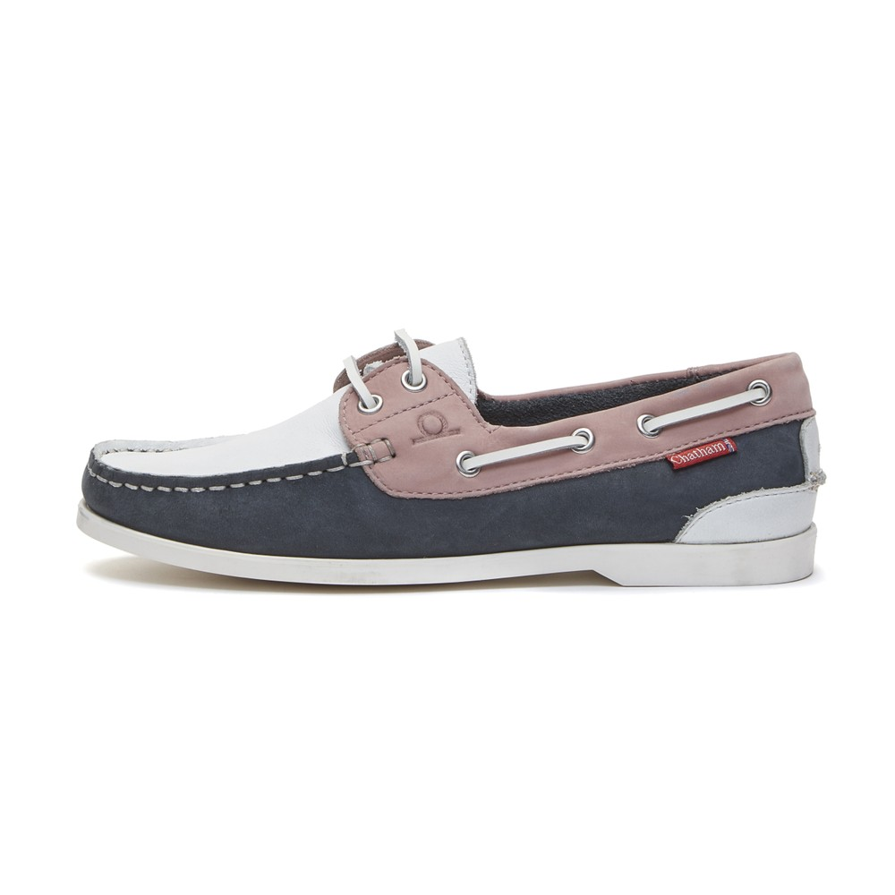 Chatham Willow Boat Shoe - White/Navy/Pink White/Navy/Pink