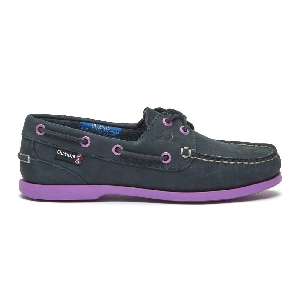 Chatham Pippa II G2 Leather Boat Shoe Navy/Purple