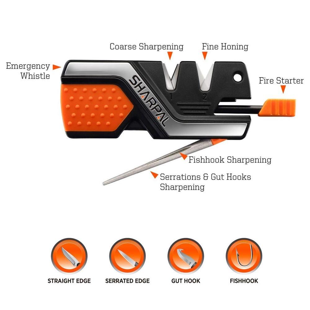 Sharpal 6 in 1 Knife Sharpener And Survival Tool Black/Orange