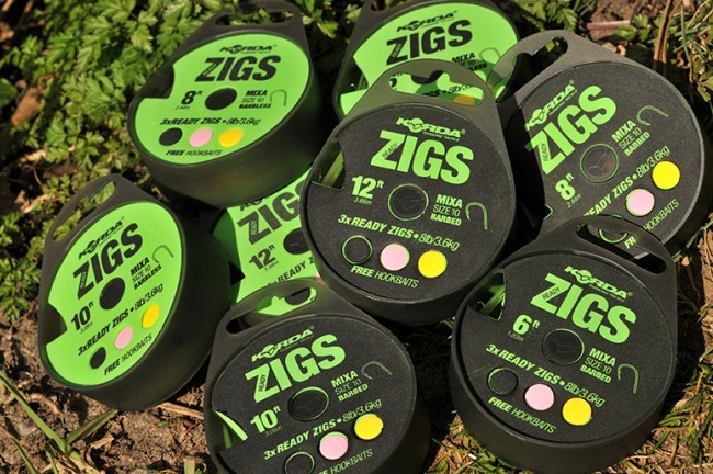 Korda Ready Tied Zig Rigs - Size 10 Barbed Clear