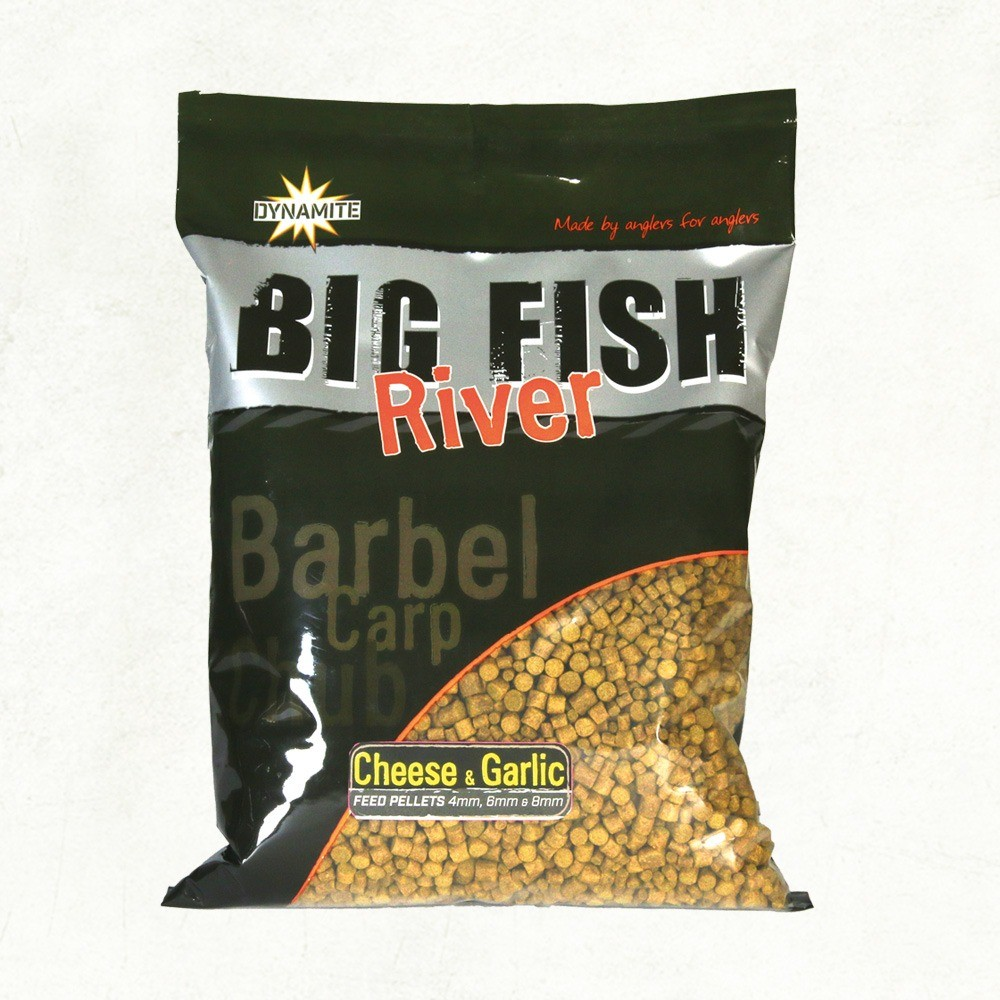 Dynamite Baits Big Fish River Pellets - Cheese & Garlic - Mixed 4mm, 6mm & 8mm