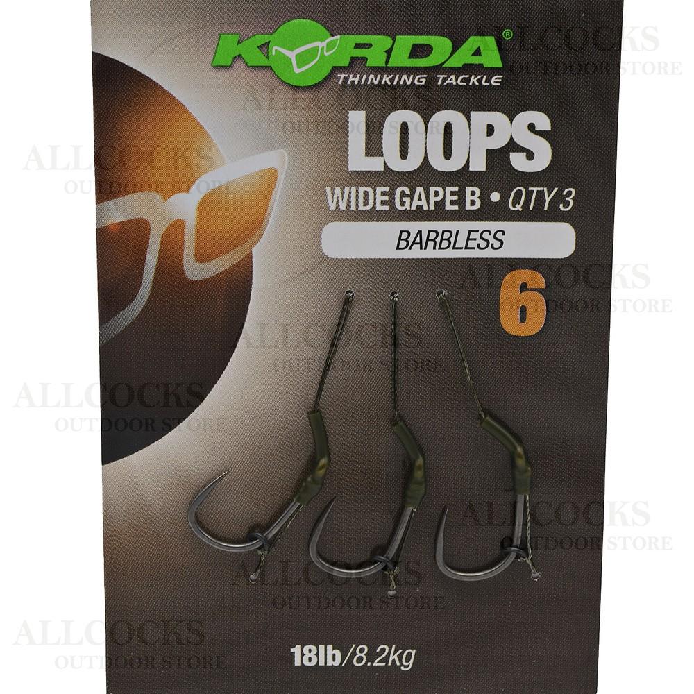 Korda Loop Rigs - Wide Gape - Barbless Weedy Green