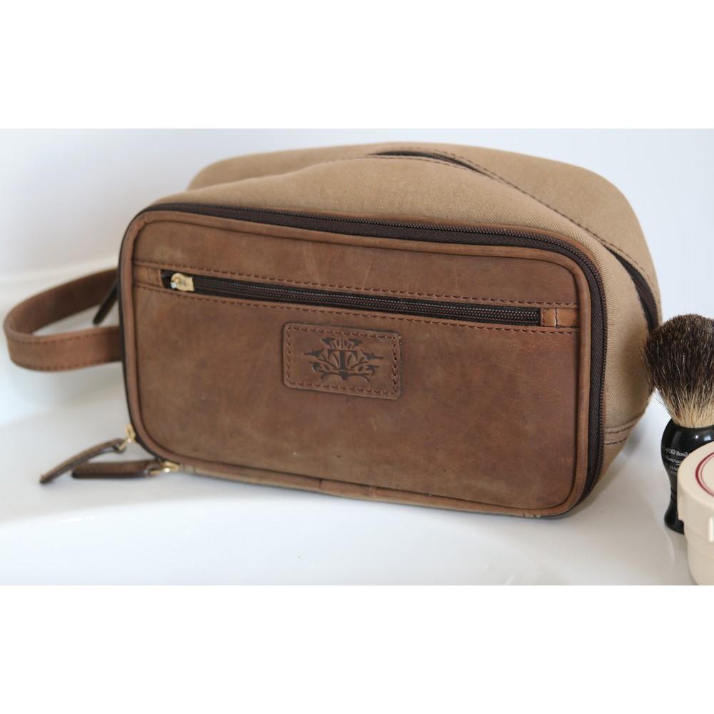 Teales Wash Bag Leather/Canvas