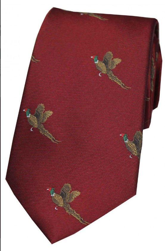Allcocks Country Silk Tie - Woven Pheasant Take Off