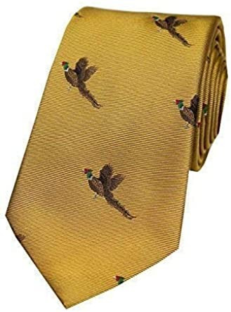 Allcocks Country Silk Tie - Woven Pheasant Take Off Gold