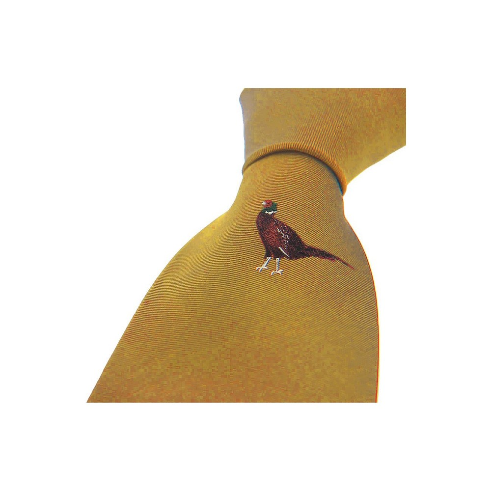 Allcocks Country Silk Tie - Single Standing Pheasant Mustard