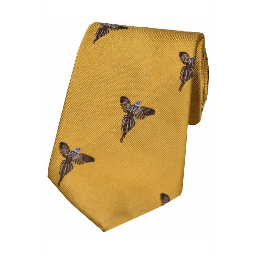 Allcocks Country Silk Tie - Woven Full Flight Pheasant Gold