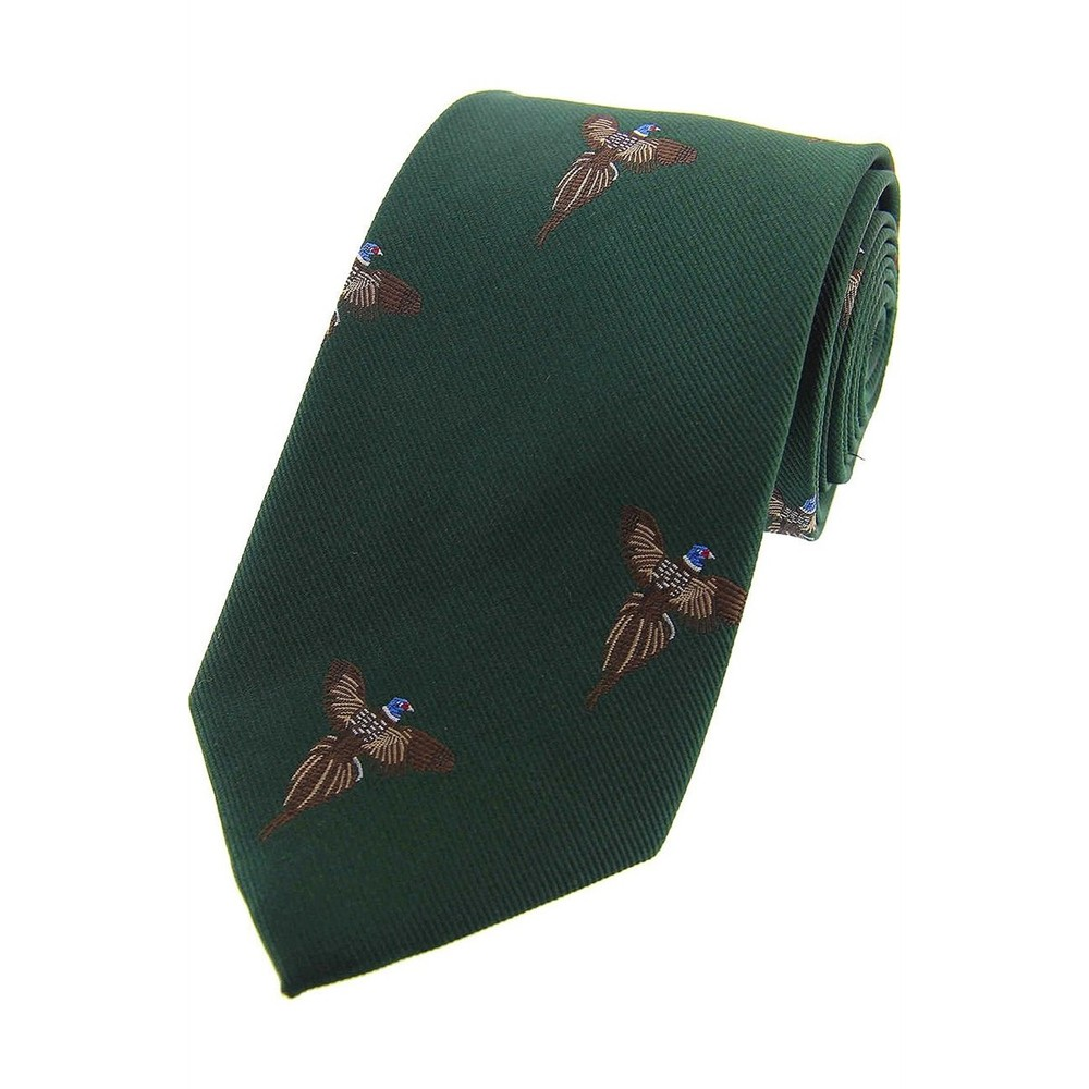 Allcocks Country Silk Tie - Full Flight Pheasant Forest Green