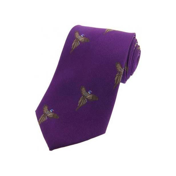 Allcocks Country Silk Tie - Full Flight Pheasant Purple