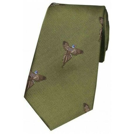 Allcocks Country Silk Tie - Woven Full Flight Pheasant Country Green