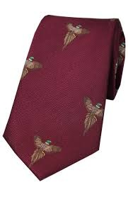 Allcocks Country Silk Tie - Woven Full Flight Pheasant Wine