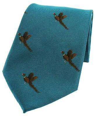 Allcocks Country Silk Tie - Woven Pheasant Take Off Cyan