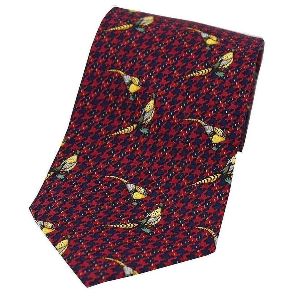 Allcocks Country Silk Tie - Pheasant on Hounds Tooth Check