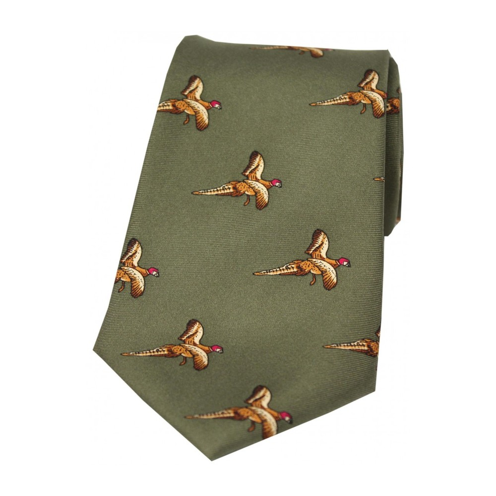 Allcocks Country Silk Tie - Flying Pheasant Country Green