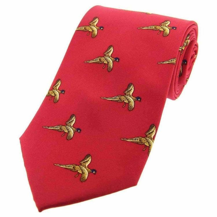 Allcocks Country Silk Ties - Flying Pheasants Red