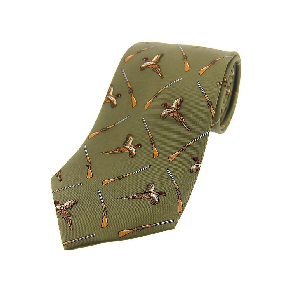 Allcocks Country Silk Tie - Pheasant & Gun