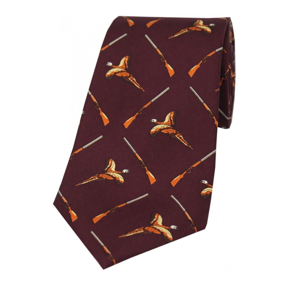 Allcocks Country Silk Tie - Pheasant & Gun Wine