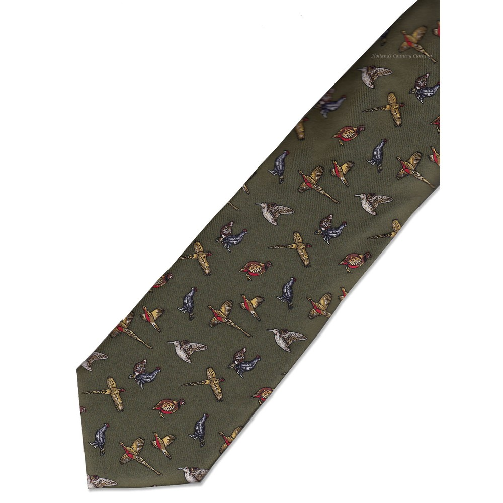 Allcocks Country Silk Tie - Mixed Birds Country Green