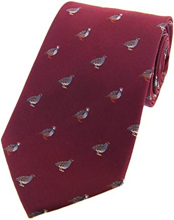Allcocks Country Silk Tie - Woven Grouse & Partridge Wine