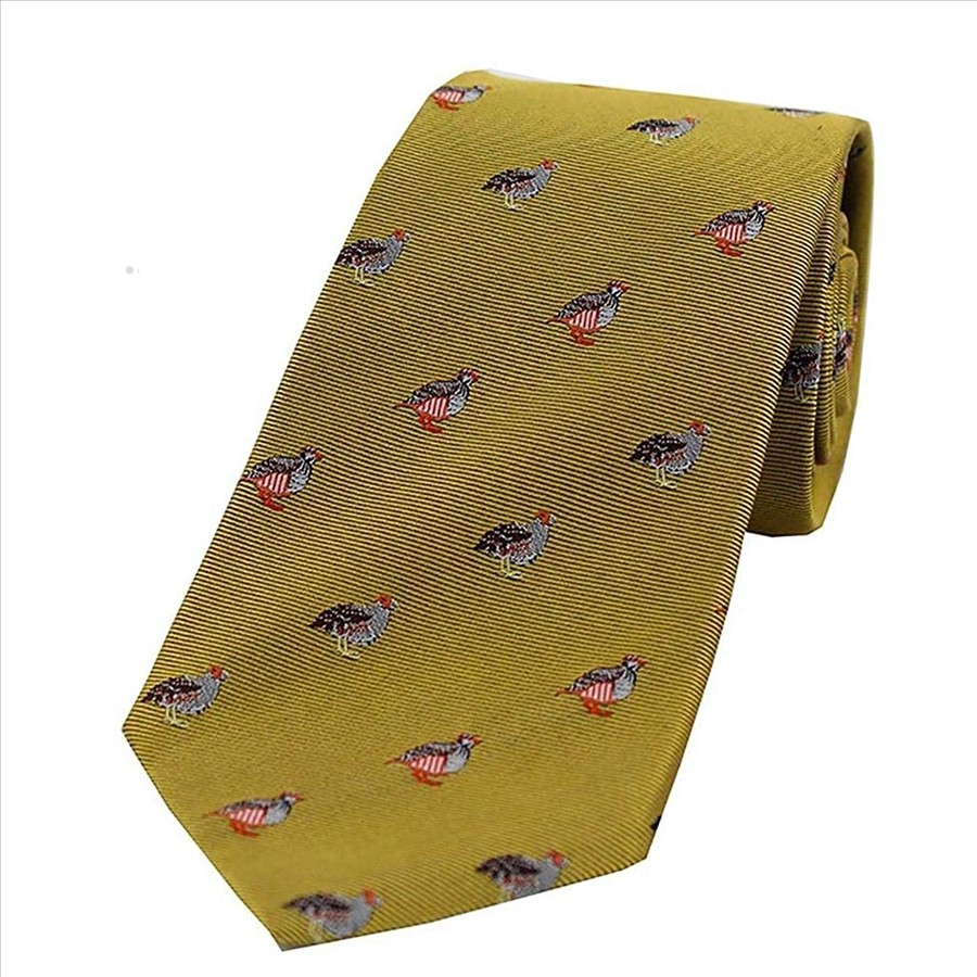 Allcocks Country Silk Tie - Woven Grouse & Partridge Gold