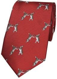 Allcocks Country Silk Tie - Woven Boxing Hares Red