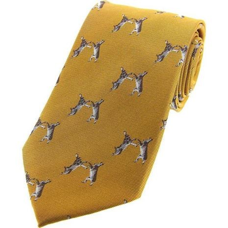Allcocks Country Silk Tie - Woven Boxing Hares
